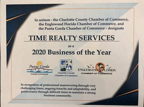 TIME Realty Services is proud to share this business of the year honor with the other 1200 members of our chamber. 2020 is/has been a challenging year for everyone.