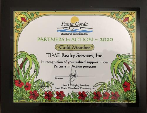 TIME Realty Services is proud to be a GOLD sponsor of the Punta Gorda Chamber