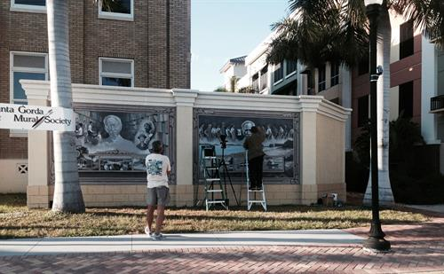 Mural being created at the Historic Courthouse