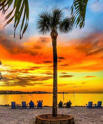 Sunset on dry beach