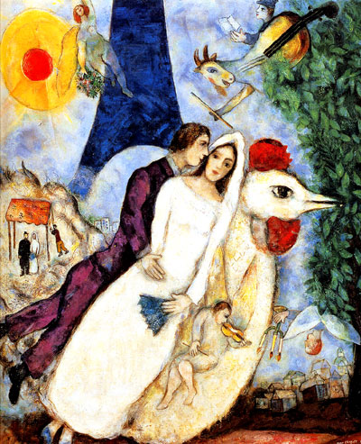 """Marc Chagall """"Bride and Groom of the Eiffel Tower"""" Limited EditionGiclee"""