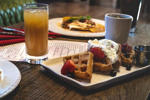 Our full brunch menu includes coffees, juices, kombucha, Mimosas and more!