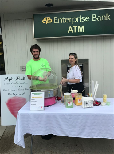 Tewksbury Andover Street team members hosting one of our Enterprise Bank Shred Days, with cotton candy!