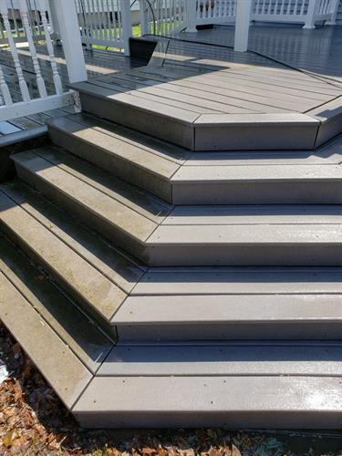 Composite deck side by side after pressure washing