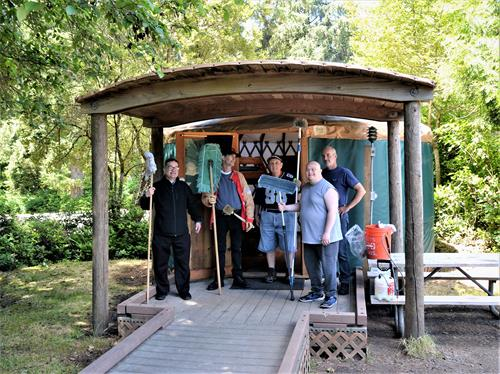 Our Janitorial Crew help keep yurts and cabins at Ft. Stevens clean for campers.
