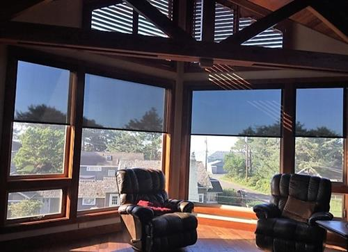 Motorized solar shades at a beach house in Manzanita