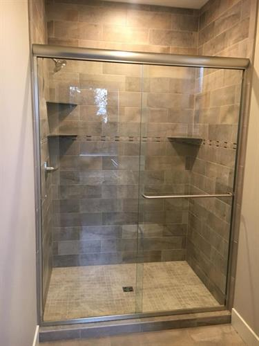 "Custom heavy 3/8"" glass shower doors"