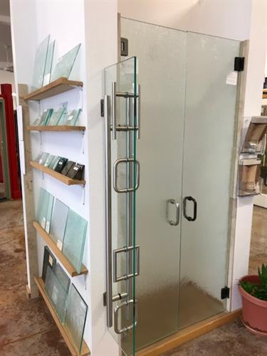 Custom heavy glass shower doors & hardware