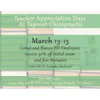 Teacher Appreciation Days at Taproot Chriopractic
