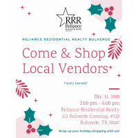Come & Shop Local Vendors at Reliance Residential Realty Bulverde