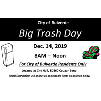 Big Trash Day for the City of Bulverde Residents