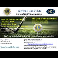 Bulverde Lions Club 2021 Annual Golf Tournament