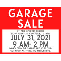 Garage Sale at St Paul Lutheran support Youth Activities & Missions