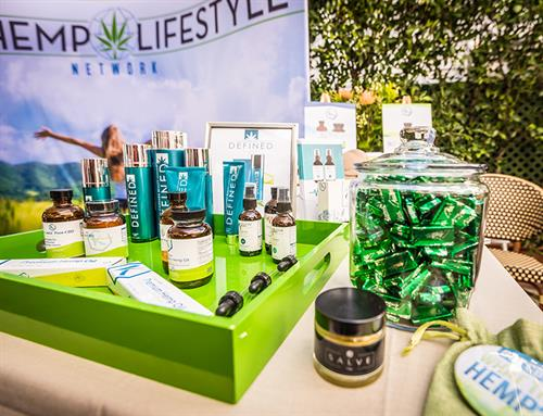 Products on display at Oscars gifting suite in Los Angeles, CA