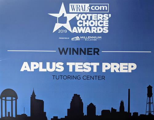APlus Test Prep (3500 Westgate Dr. Durham) was recognized at Best Tutoring Center by the WRAL Voters' Choice Awards.  Families are welcome to attend a free class and learn more about our test prep and tutoring services.  More info at scoresopendoors.org