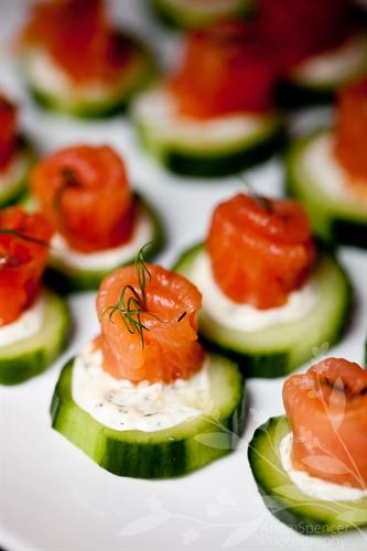 My personal favorite, salmon roses on cucumber rounds - mmm!