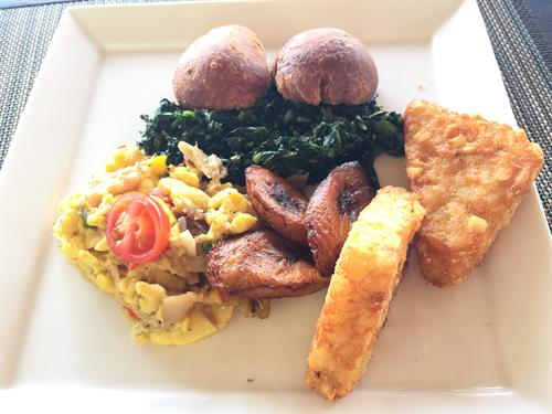 Authentic Jamaican Breakfast - Ackee & Salt Fish, Steamed Callaloo, Festival, Bammy, and Plantains - YUMMY!