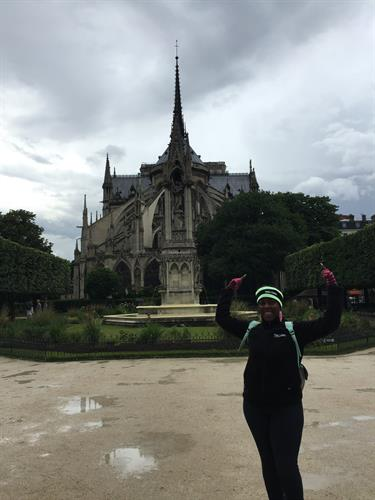 Outside the Notre Dame Cathedral in Paris - Can you believe it's June?