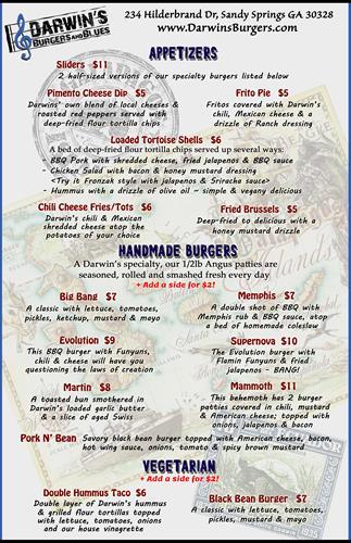 Appetizers, Burgers & Vegetarian Food Options