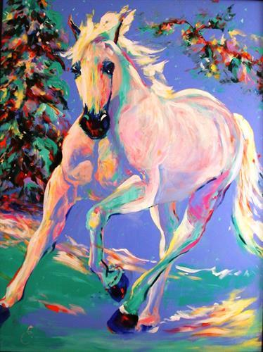"Winter Run, 40"" x 30"", acrylic, by Elizabeth Samoluk, painiting available"