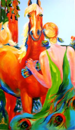 "Date Nigt, 52"" x 30"", acrylic, 52"" x 30"", by Elizabeth Samoluk, painting available"