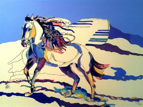 "Vivace at Pedernal, 16' x 20"", mixed on Aquabord, by Elizabeth Samoluk, painting available"