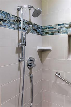 shower remodel white tile with blue accent liner