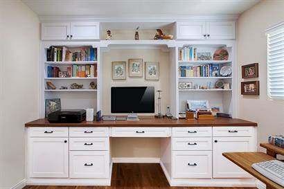 Home Office Remodel gives effective work area layout and storage solutions