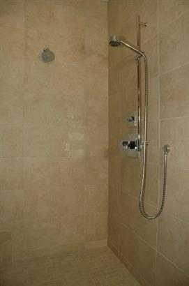 frameless shower in bathroom remodel