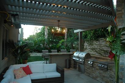 outdoor living area, Newbury Park -seating and bar-b-que area