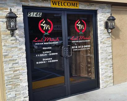 January 2015 Project for Lal Mirch - Design, Print and Install Vinyl Lettering