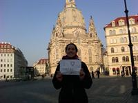 Spreading the good word at the Frauenkirche in Dresden, Germany!