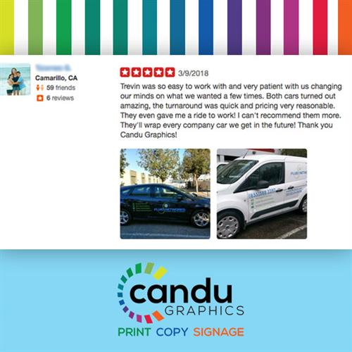 A customer review! ? If you or your company are in need of vehicle wraps or decals, we can help! ????