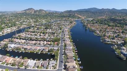 Drone shot over Westlake Village