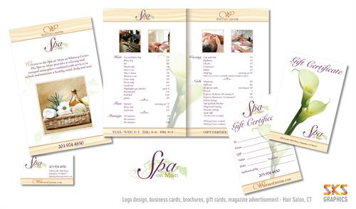 Logo, brochures, ads, business card, invitations for Sap on Main - CT
