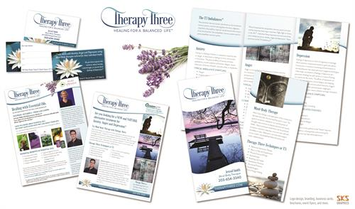 Logo, brochures, ads, business card, invitations for Therapy 3 - CT