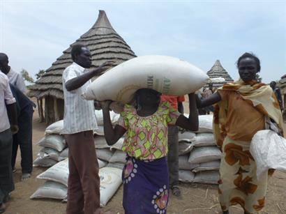 The worst famine since WWII in South Sudan. CSI providing life-giving food. This size bag of sorghum costs $70.00 and provides enough food to save a family during the drought.