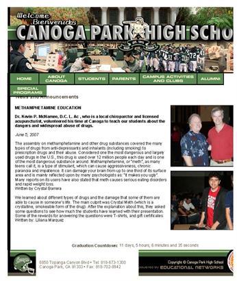 Anti Drug Presentation at local high schools