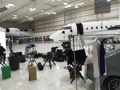 On set at Dreamline Aviation.