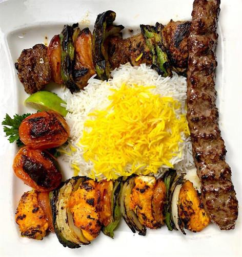 Sadaf Combination #2 (Beef Shish Kabob, Chicken Shish Kabob, and Beef Koobideh)