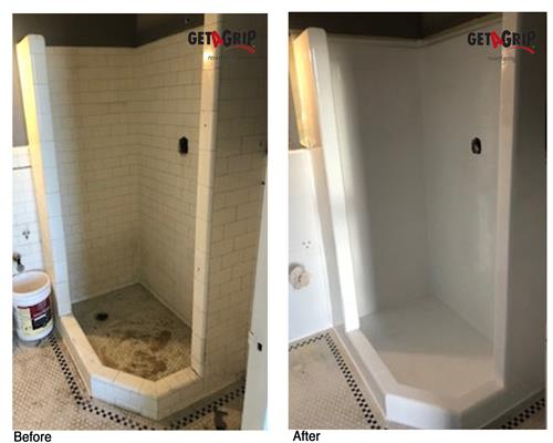 Antique Tile Shower - before and after