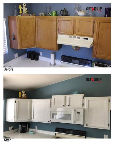 Cabinets and countertops - before and after