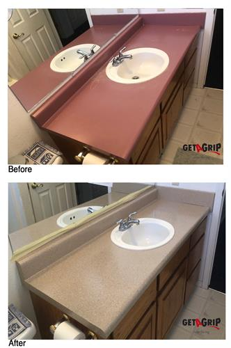 Bathroom vanity countertop - before and after