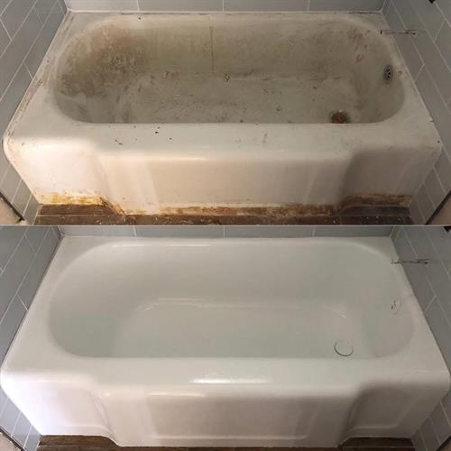 Porcelain Bathtub - before and after