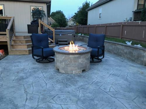 Custom Stamped Gas Fir Pit With Matched Patio & Sitting Wall