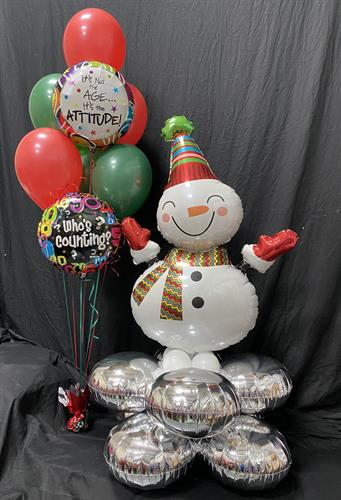 Snowman Pillow and Birthday Bouquet