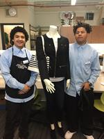 students outfitting mannequins
