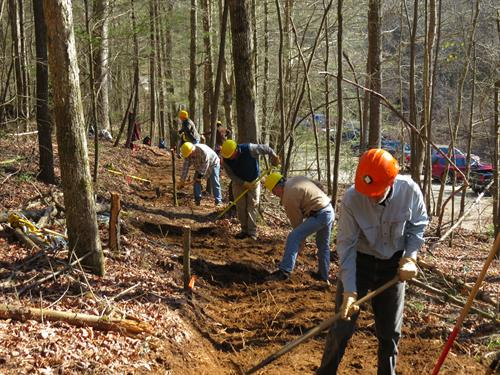 Volunteers working on a reroute to Fall Branch Falls.