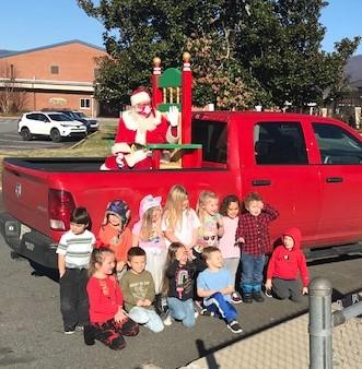 Santa visiting the children