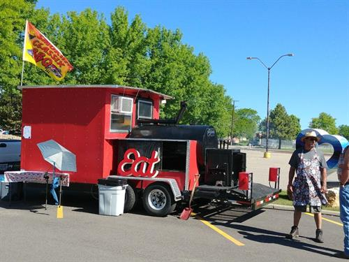 Photo of our food truck, set up at Scholze's Ace Home Center, Black River Falls, WI
